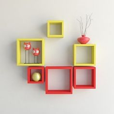 Desi Karigar Wall Mount Shelves Square Shape Set of 6 Wall Shelves - Red &…