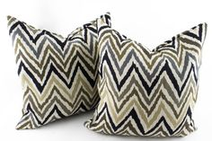 Chevron Decorative throw pillow cover 18x18, Black Beige White Kilim Ikat Pillow, Gray Accent Pillow, Woven Pillow Jacquard for couch sofa