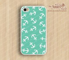 Mint green anchor iPhone 4s case