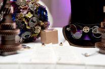 Steampunk wedding- custom brooch bouquet and top hat with gears. Steampunk Wedding, Modern Victorian, Gears, Wedding Photos, Wedding Inspiration, Bouquet, Brooch, Hat, Jewelry