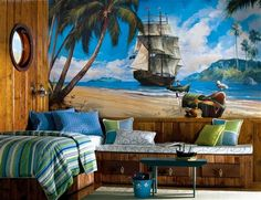 pirate bedroom decorating ideas - pirate murals - boys bedrooms pirate theme nautical boat beds - pirates exotic tropical treasure island - pirate ship theme beds - tropical theme murals - pirate bedding - pirate theme childs bedroom - pirate bedding - be Pirate Bedding, Pirate Bedroom, Childs Bedroom, Pirate Nursery, Beach Mural, Pirate Kids, Surf, Murals For Kids, Bedroom Themes