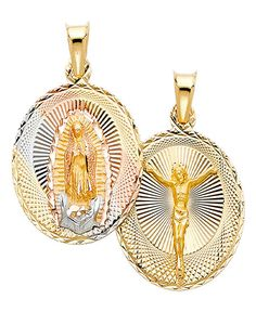Size : 32 x 17 mm GoldenMine 14k Two Tone Gold Guadalupe Medal Pendant