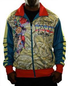 ED HARDY Christian Audigier Paris Grafitti Mens Track Jacket Shirt Top