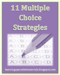 Come learn 11 multiple choice strategies just in time for finals!