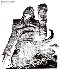 Assassin's Creed (official art)-- Dark Edward : Ink version-- all traditional ink line art-- Ubisoft/ Insight Editions-- Andy Brase-- https://www.facebook.com/AndyBraseArt