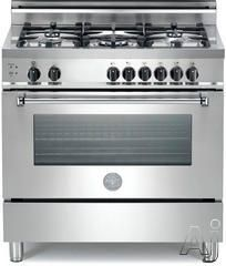 """Bertazzoni A365GGVXEX 36"""" Pro-Style Gas Range with 5 Sealed Burners, 3.6 cu. ft. European Convection Oven, Manual Clean and 4"""" Backguard Included"""