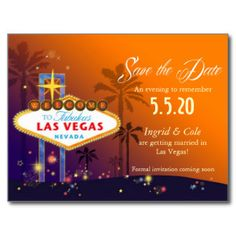 Fabulous Las Vegas Wedding Save the Date Postcards