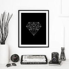 Black Diamond Geometric Print Home Decor Inspirational Art Fashion Illustration Wall Decor Black and White Home Decor Summer Trends    Printed