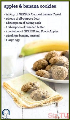 Apples and Bananas Cookies Iron-rich GERBER Oatmeal Banana Cereal adds nutrients and flavor to the cookie dough. Soft, chewy and naturally sweet—these cookies are a nutritious and delicious treat your child will love. Cereal Recipes, Baby Food Recipes, Snack Recipes, Toddler Recipes, Food Baby, Baby Cookies, Cereal Cookies, Toddler Cookies, Summer Cookies