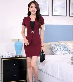 Lovely Short Sleeve Ladies Business Suit/ 3 color choices