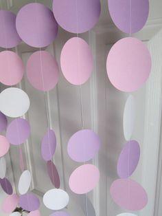 Paper Garland,  White, Pink, and Purple Circles Dangling Decorations, Baby Shower Decorations, Birthday, Wedding, Showers. $22.00, via Etsy.