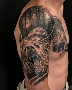 - Realistic Bear tattoo by Emil, limited availability at Holy Grail Tattoo Studio Best Sleeve Tattoos, Tattoo Sleeve Designs, Tattoo Designs Men, Skull Tattoos, Animal Tattoos, Body Art Tattoos, Animal Sleeve Tattoo, Upper Arm Tattoos, Arm Tattoos For Guys
