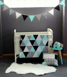 Bunting, Blanket, Cushion Cover and Elephant - Yep I think I could make this in #3's nursery colours