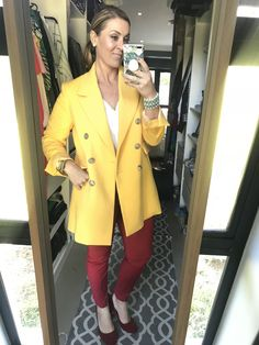 #makeup #yellow #coat #white #shirt #red #pants #heels #bracelet #watch #imageconsultant #stylist #personalshopper #motivationalspeaker #saimage