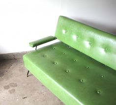 1960s Green Vinyl Sofa/Daybed.