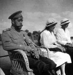 H.I.M. Emperor Nicholas II and daughters HH.II.HH. Grand Duchesses Anastasia Nicolaevna and Maria Nicolaevna of Russia
