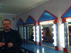 Werner (my wonderful guitarist) in our dressing room pre-show. Central Theatre, Chatham