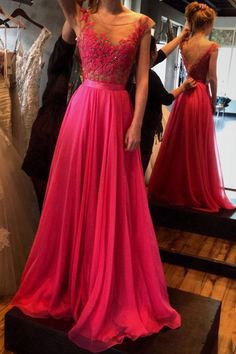 Fuchsia Appliques A-line Cap Sleeves Long Prom Dresses Evening Gowns