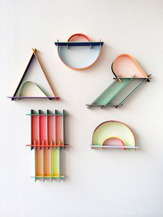 colorful modern wooden wall sculptures