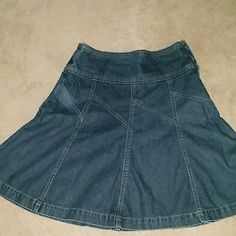 High Waisted Denim Skirt High waisted denim skirt with side zipper and hook St. John's Bay Skirts