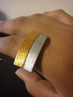 silver and gold paper ring by TrashyCreations on Etsy, $4.50
