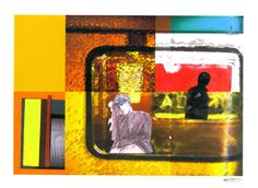 #30DayDrawingChallenge - Day 25 : Scenery : A veces el sueño gana y me duermo en un vagón de metro - Dibujo / Collage técnica mixta