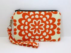 Wristlet Zipper Purse iPhone 5 Padded Pouch Cell Phone Clutch - Amy Butler Lotus Flower Red. $14.00, via Etsy.