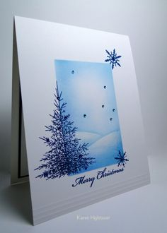 handmade winter/Christmas card ... one layer with a masked off rectangle sponged in blues for a snowy scene ... luv the scored lines adding texture to anchor the  card .... Stamp TV