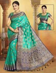 Vogue and pattern would be on the peak of your elegance after you dresses this sea green art silk designer traditional saree. The ethnic weaving work on the attire adds a sign of elegance statement wi. Indian Dresses, Indian Outfits, Lehenga Saree, Sari, Indian Sarees Online, Stylish Sarees, Casual Saree, Designer Sarees Online, Art Silk Sarees