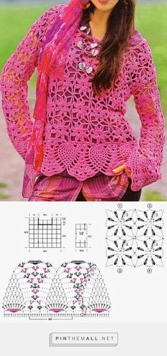 Gypsy Look Sweater - Free Crochet Diagram - (crochet-sweaters.blogspot)