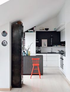 neutral kitchen + bright stool