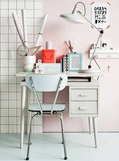 Home Office Ideas On A Budget Pink and White Office