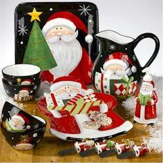 Vajilla navide a candy cane dinnerware set cer mica pintada pinterest navidad vajilla - Vajillas navidenas ...