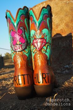 Custom Painted Cowgirl Boots by Hopscotch Dandelions