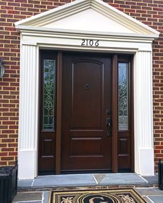 Provia Signet Cherry Fiberglass Entry Door And Sidelights With Symphony  Glass