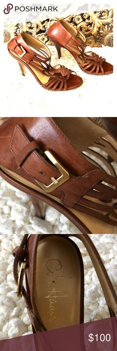 Cole Haan Strappy Heels Beautiful cognac brown leather heels. Gorgeous on! Great used condition with minor scuffs on heels as shown. Cole Haan Shoes Heels