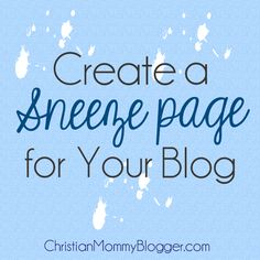 create a sneeze page for your blog