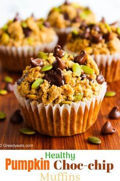 Pumpkin applesauce muffins are so easy to make and are a guilt free fall breakfast treat. Topped with soft pumpkin spice crumb and melty chocolate! Recipe at greedyeats.com #pumpkinmuffins #pumpkinspicemuffins #easy pumpkinmuffins #pumpkinchocolatechipmuffins #fallbreakfast #fallrecipes #thanksgivingmuffins