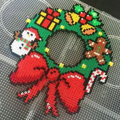 Christmas wreath perler beads by fr_nicole