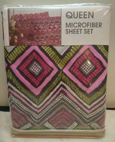 http://www.ahomd.com/category/Queen-Sheets/ Queen Sheet Set Pink Green White Black Exotic Diamonds Soft Microfiber New