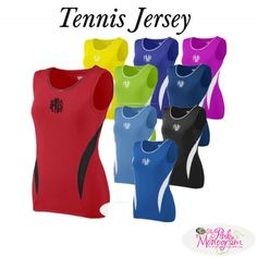 Monogrammed Tennis Jersey in 10 Bright Colors and Team Pricing  Apparel & Accessories > Clothing > Activewear > Active Tanks