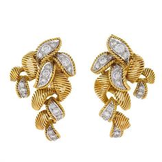 1011b0dac711 Van Cleef and Arpels Paris Georges L Enfant Mid-20th Century Diamond Gold  Earrings
