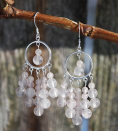 Rose quartz sterling silver chandelier earrings. Sterling & rose quartz handmade earrings. Bride earrings. Wedding earrings, I love you gift - pinned by pin4etsy.com