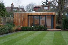 hillside garden studio with roof deck