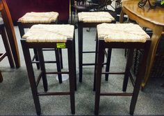 NEW MERCHANDISE ARRIVES ALL DAY LONG AT NEW USES: Never used woven seat bar stools priced at $18.75 per! We're as full as ever! Open til 6pm!