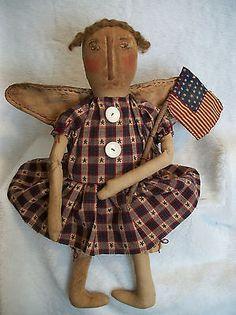 "Primitive Doll ""Pattern"" Folk Art Angel 22in Dumplinragamuffin | eBay"