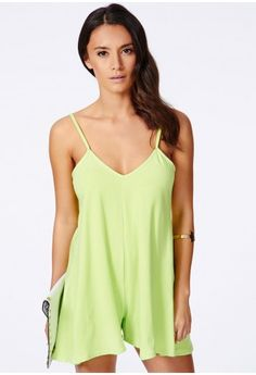 Missguided - Bernadea Strappy Oversized Romper In Lime