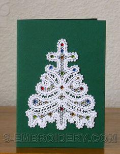 Vianočný strom Battenberg čipky ornament