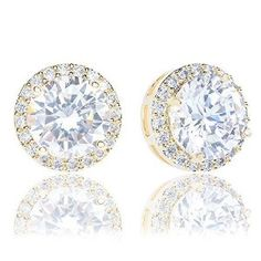18k Yellow Gold Plated Cubic Zirconia Cushion Shape Halo Stud Earrings (1.90 carats)