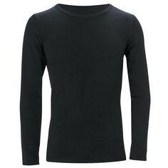 Adults Merino L/Sleeve Crew neck Top: Black Outdoor Brands, Outdoor Gear, Thermal Base Layer, Weather Activities, How To Run Longer, Snug Fit, Merino Wool, Black Tops